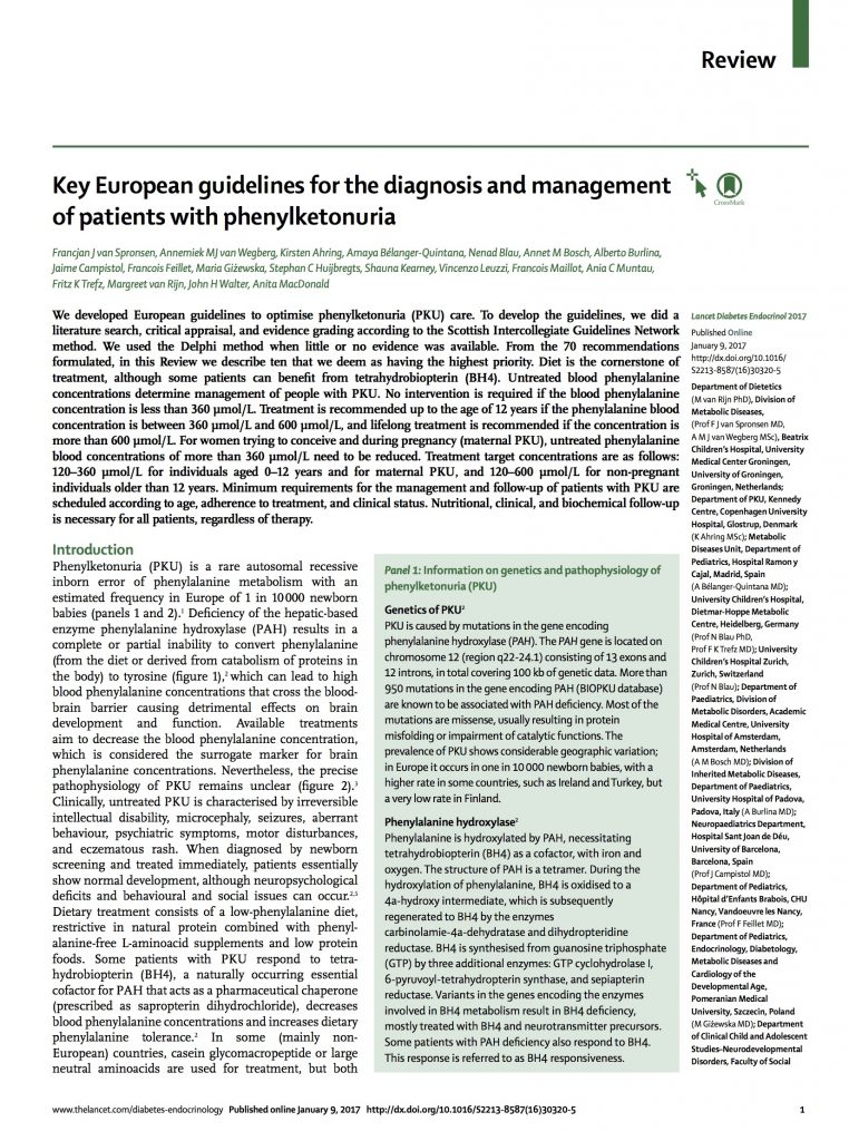 European Guidelines for Phenylketonuria