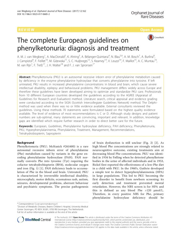 European PKU Guidelines