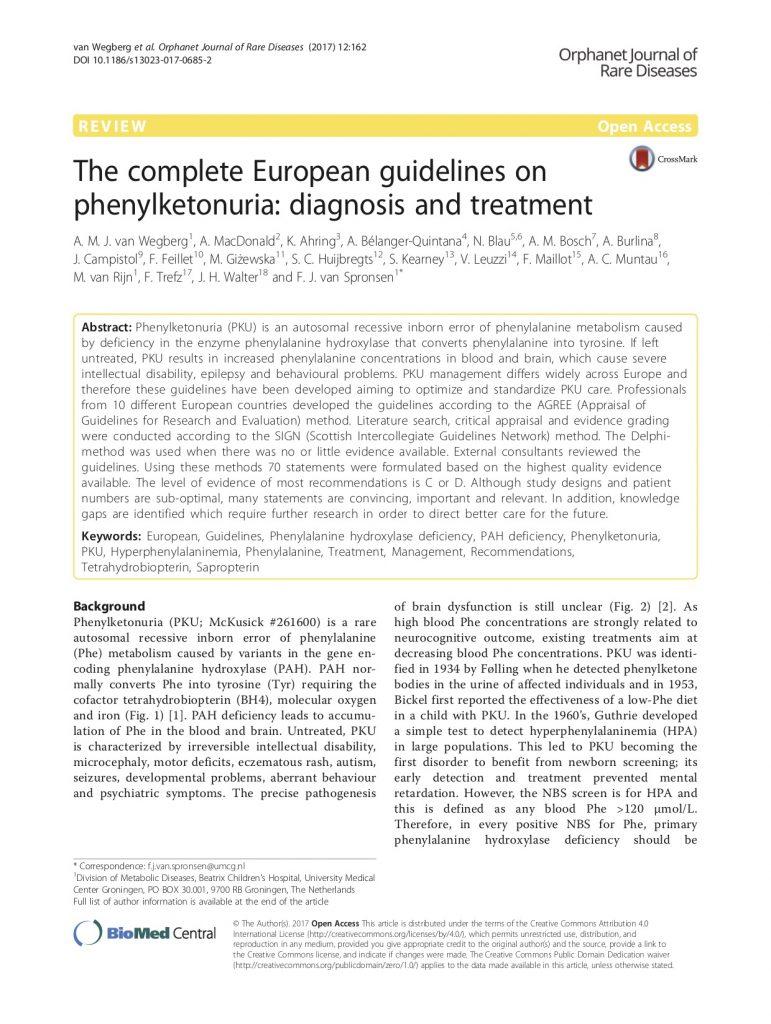 European PKU Guidelines